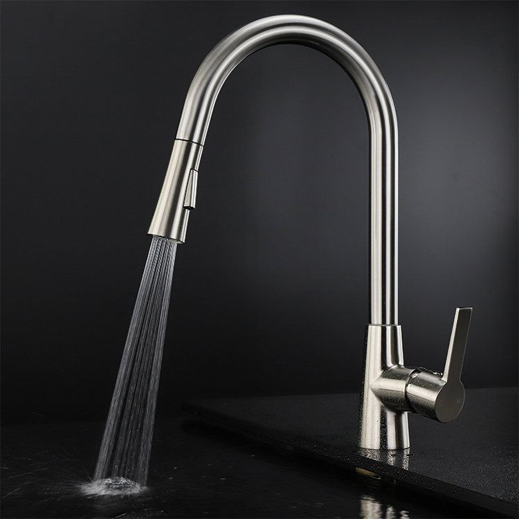 German Made Design Oem Modern Cupc Single Handle Water Spring Pull Out Br Wash Kitchen Sink Faucets Mixer Bib Taps
