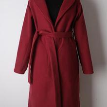 fcc9a17724372e Elegant belt winter coat women long sleeve laple long coat overcoat 2018  fashion Warm wine red