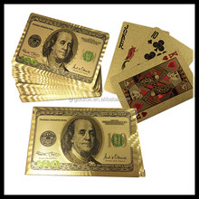 $100 dollars Gold plated plastic playing cards
