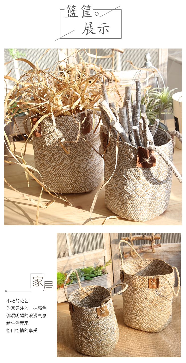 antique home decor home goods decorative natural seaweed storage basket
