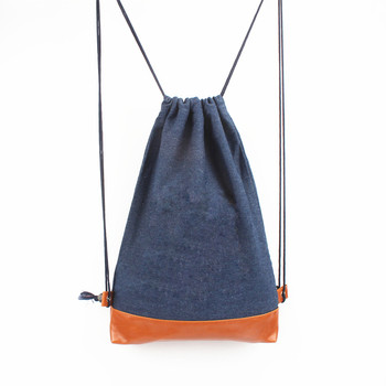 Durable Denim Laundry Drawstring Tote Bags Gym Sport Bag Sack Style Backpack