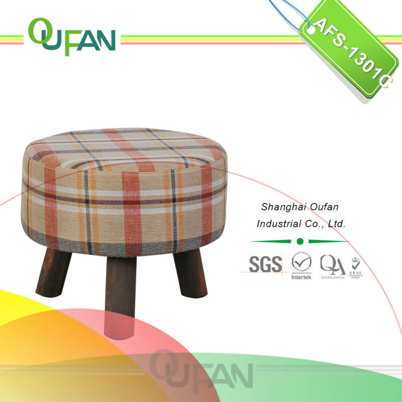 Oufan round fabric foot stools with wooden frame AFS-1301C