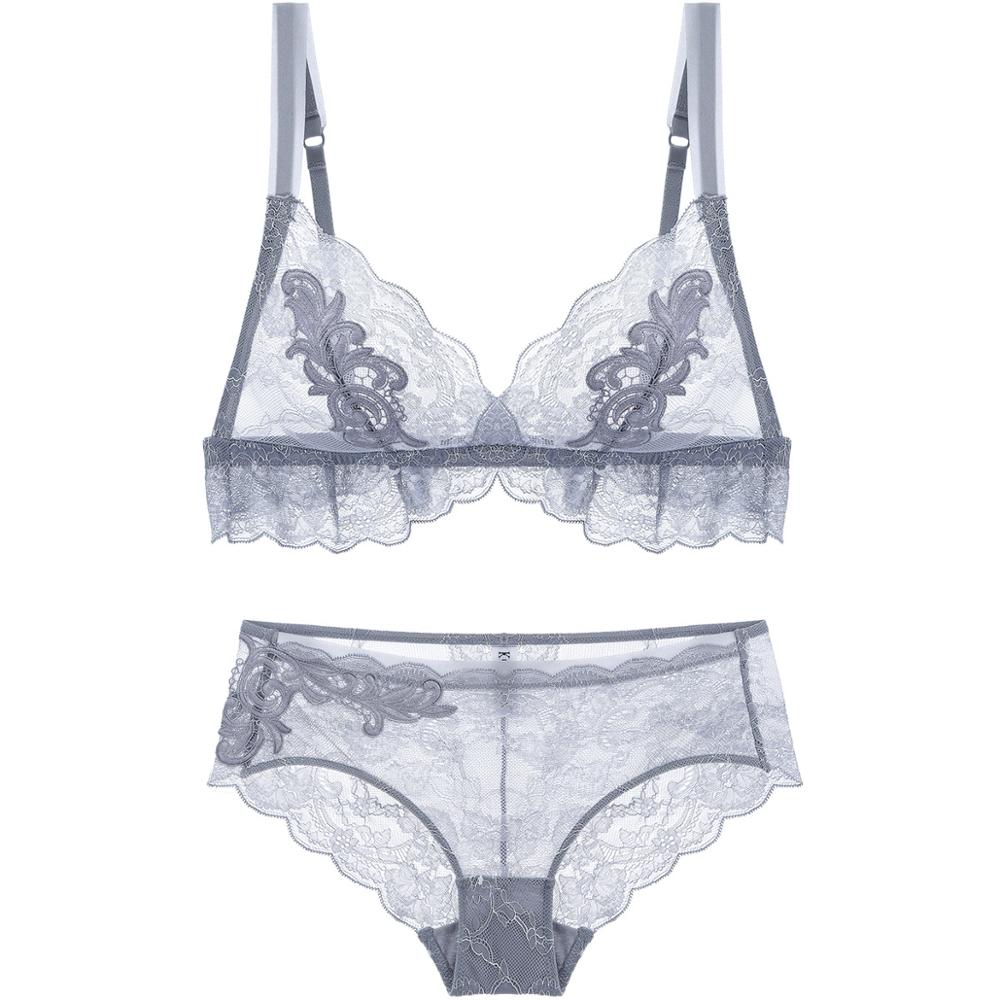75f6a23b31500 Women s Comfort Sexy Wirefree Push up Embroidered Eyelash Lace Lingerie Set  Wholesale