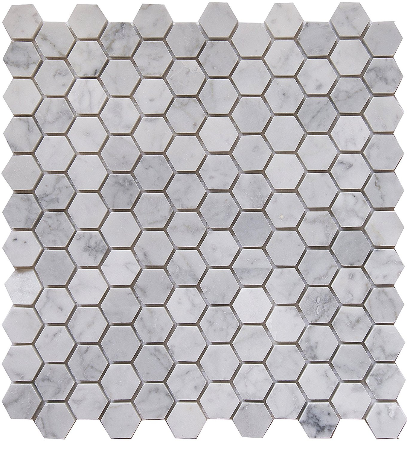 """Carrara White Marble Mosaic Tile, CWMM1HEX, Chip Size 1"""" Hexagon, 11-1/2""""X11""""X3/8"""", Polished (Box of 5 Sheets)"""