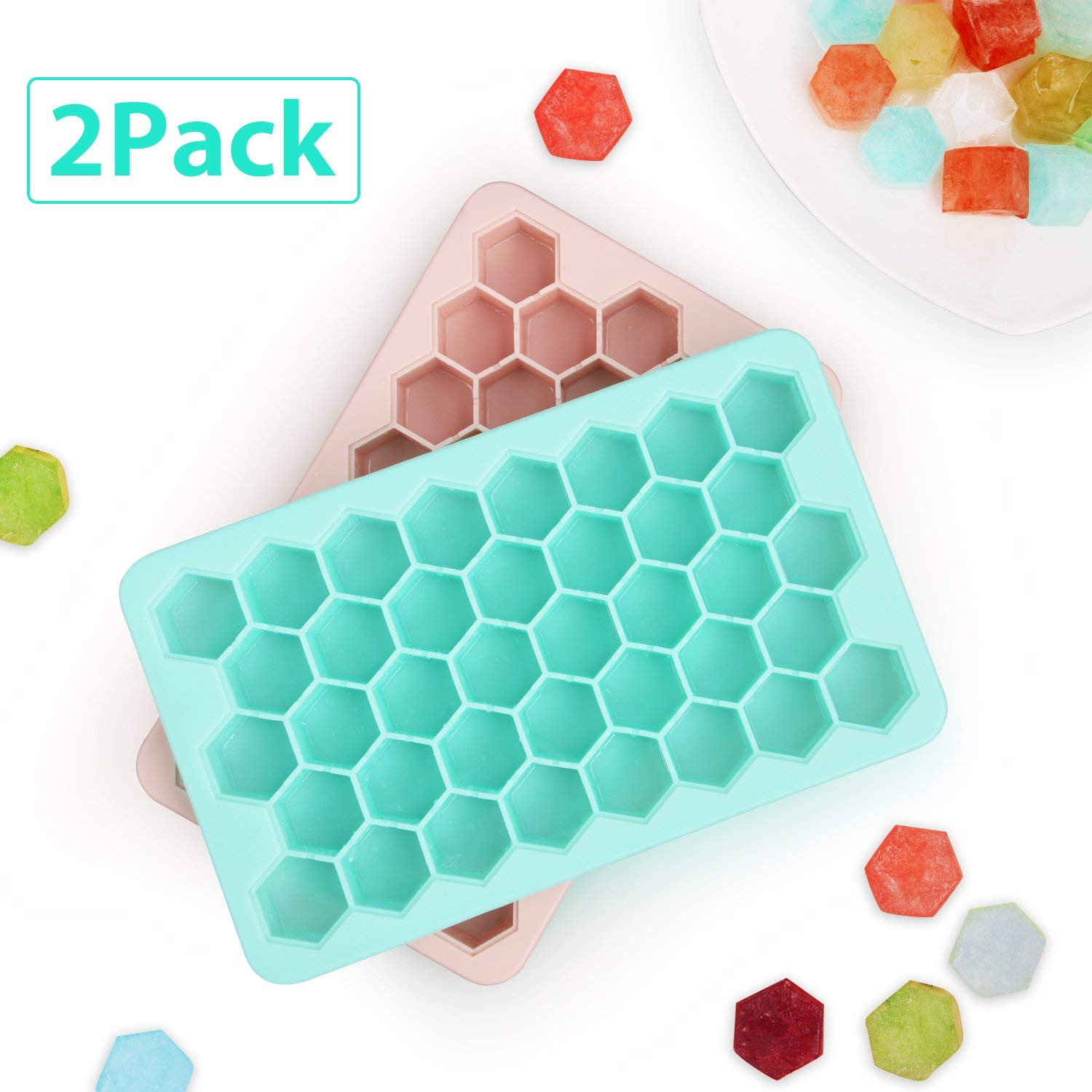 Benewell Silicone Ice Cube Trays Set of 2, Easy Release Honeycomb Shape Ice Molds, Perfect Ice Trays for Bourbon, Whiskey, Cocktail, Beverages and More - 38 Cubes Each, BPA-Free, FDA & LFGB Approval