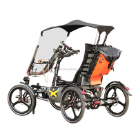 Elderly Traveling Aluminum Alloy 500W Mid Drive Motor 4 Wheel Electric Vehicle Velo Taxi Recumbent Quadricycle Bike