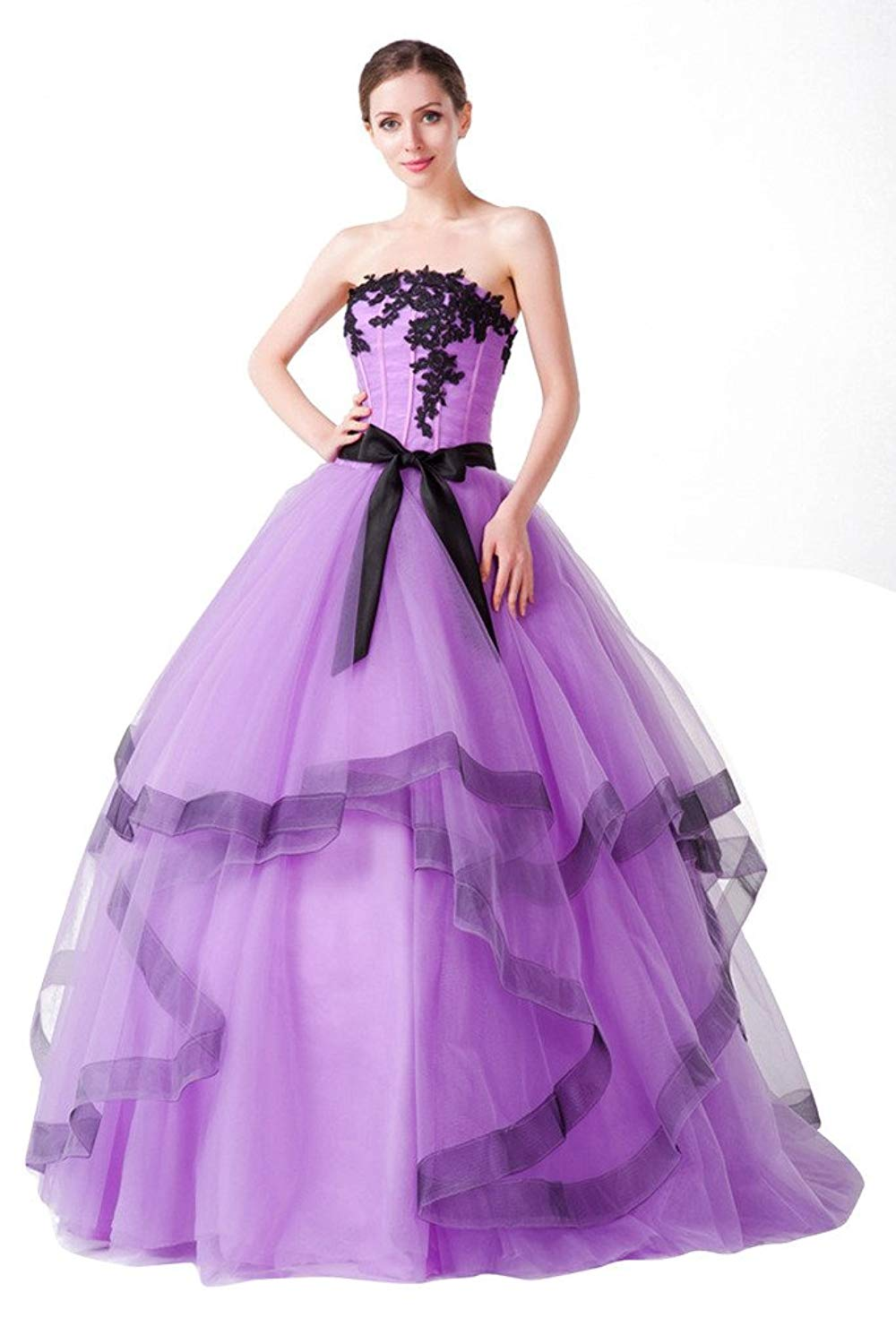 c95f18fb88b Get Quotations · Vimans Long Purple Strapless Puffy Wedding Gowns for  Bridal Reception Dress