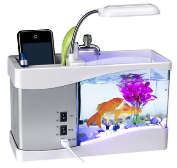 Mini Led Multifonctionnel D'aquarium Électronique Avec De L'eau En Cours D'exécution Conduit Pompe Lumière Calendrier Horloge Blanc Noir Buy