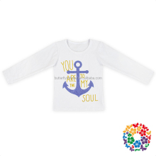 New Designs Printing Girls Fall Clothes Casual Shirt Anchor Printed Baby Long Sleeve Kids Girls T Shirt