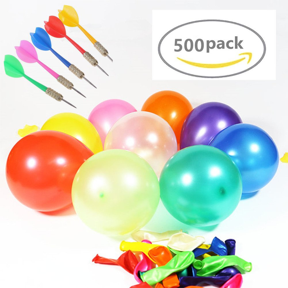 """LovesTown Carnival Game Outdoor Game 500 Pcs 6"""" Assorted Color Latex Dart Balloons Water BalloonS 10 Pcs Plastic Darts Bundle for Outdoor Carnival Pop Party"""