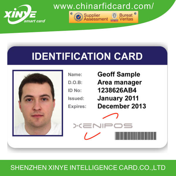 Professional sample employee id cards with barcode with plastic.