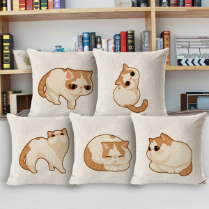 European Popular Pet Design Hand Drawn Yellow Cat Print Cotton Linen Home Nursery Decor Wholesale Cute Kitten Pillow Case