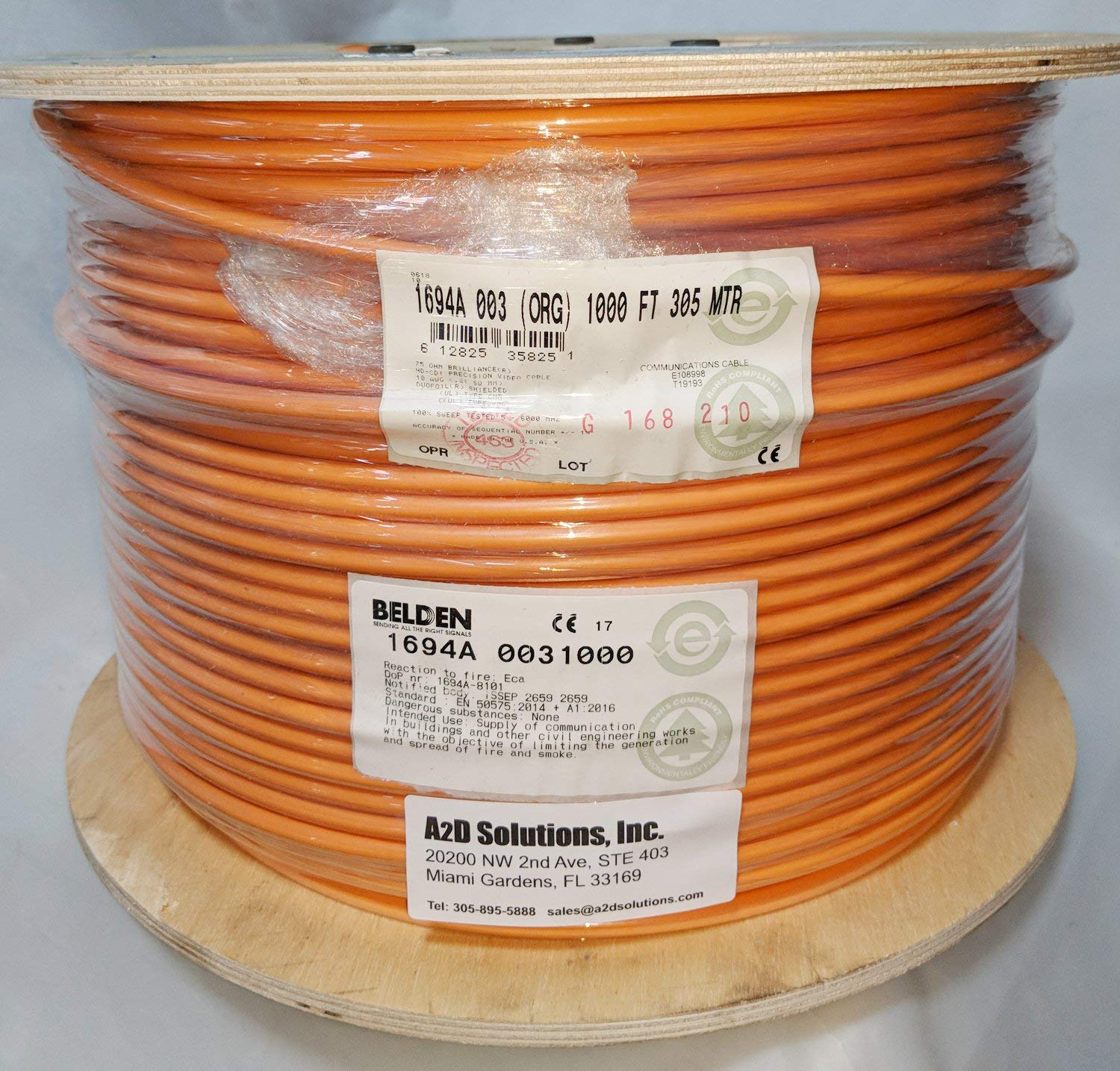 Cheap Belden Coaxial Cable Rg6 Find Deals Network Digital Satellite Tv With A Standard Get Quotations 1694a 0031000 Hd Sdi 18awg Serial Orange