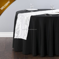 Decorative items 13 by 108 inch square white quilted pintuck taffeta wedding table runners