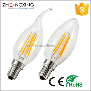 e12 e14 110v 220v Dimmable 2Watt 4Watt Warm White Clear led filament candel bulb light