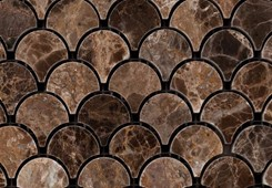 EMPERADOR DARK MARBLE POLISHED FASH SCALE MOSAIC TILE
