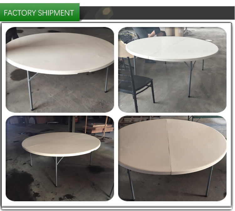 180 CM Round Table 10 People Plastic Round Folding Table Outdoor Banquet Table For Wedding Party