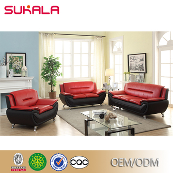 Exceptionnel Sales Korean Style Bright Colored Sofa Set Black And Red Sofa