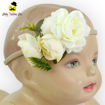 Artificial Flowers Gardenia Elastic Baby Hair Bands Latest Hairband