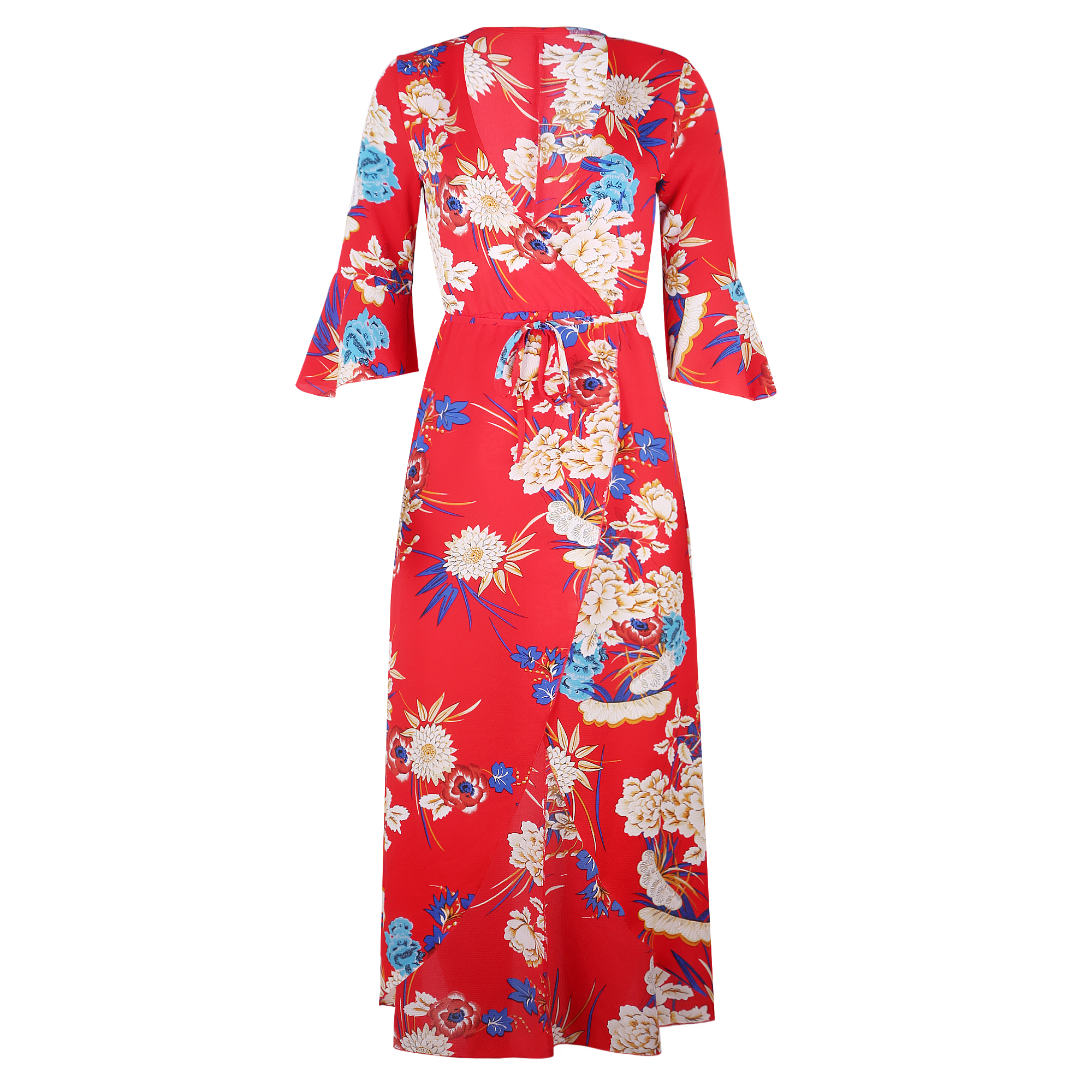 Women's Summer beach Floral Printed low cut V Neck Maxi Casual chiffon Dress