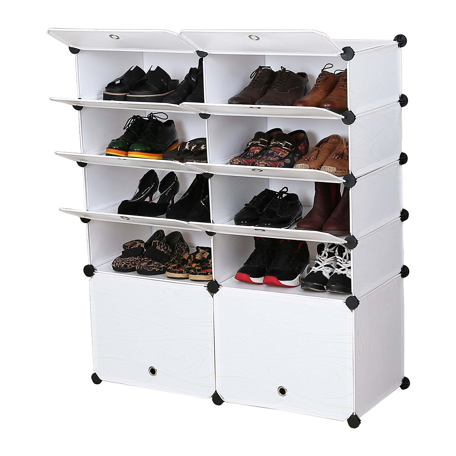 Multi Use DIY Plastic 5 Layer Wood Grain Shoe Rackplastic Storage Shelf Bookcase  Shoes Cabinet For