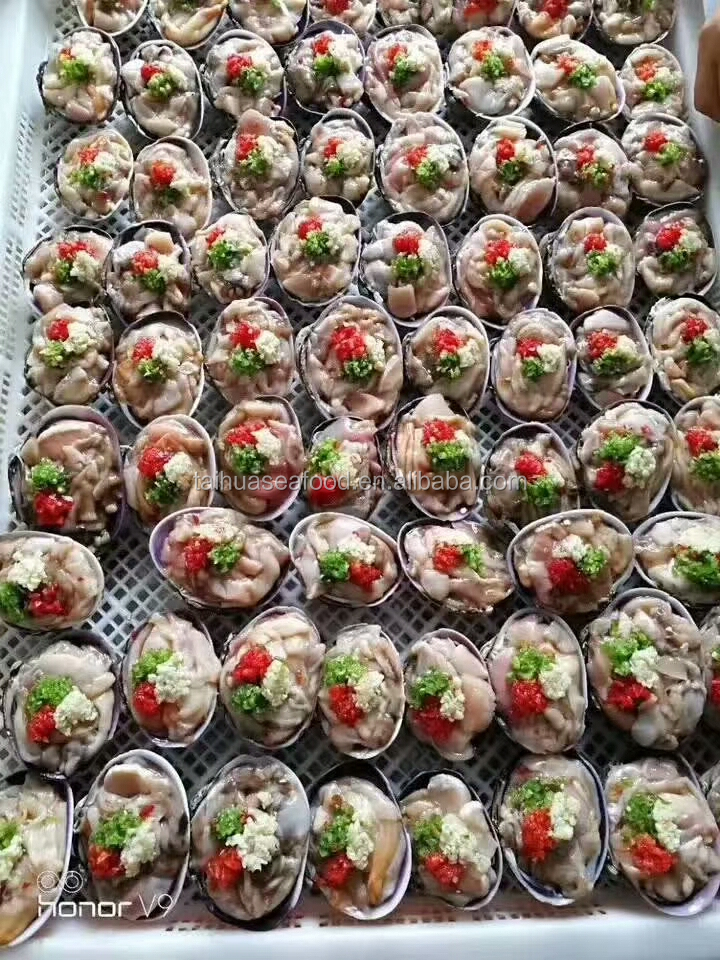 Colorful washington clam with vegetables half shell good quality