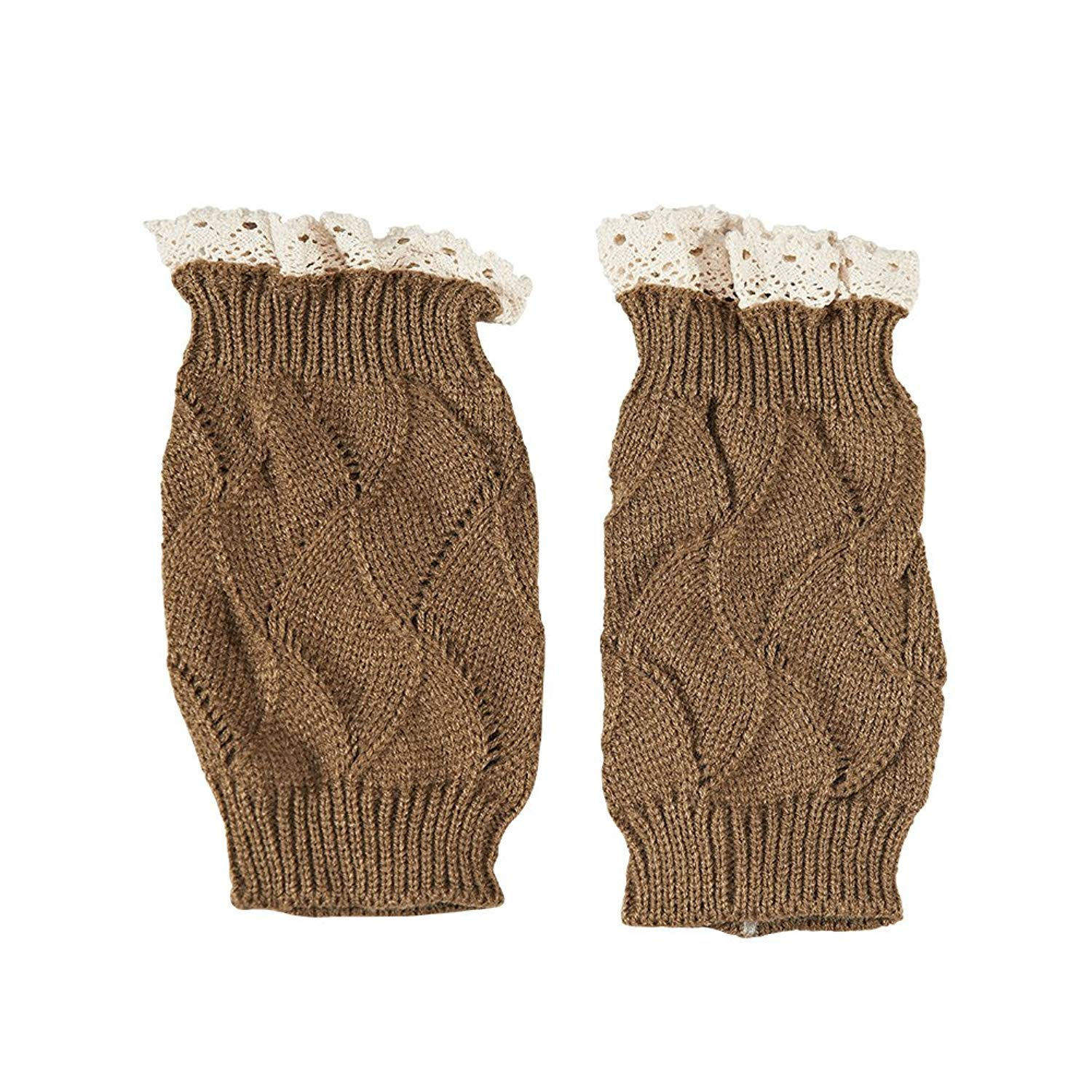 9e7048dc19 Get Quotations · Leg Warmer Cable Crochet Boot Cover Women s Cuffs Lace  Knitted Boot Sock Cuffs
