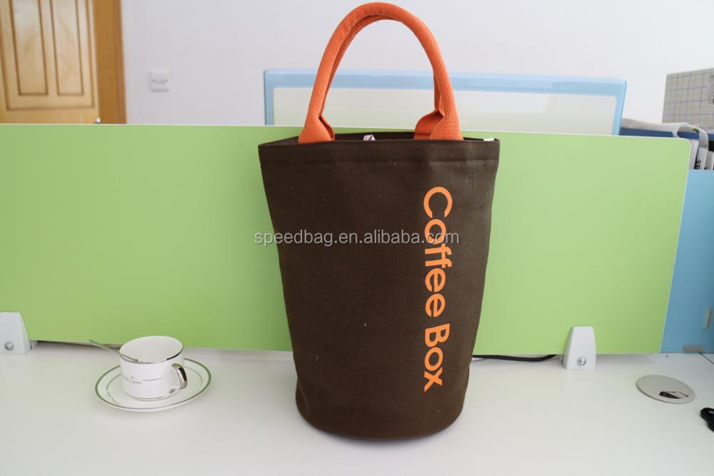 Canvas lunch bag cooler tote for packing coffee keep warm bag