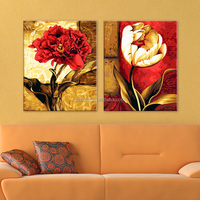 Two panel group oil painting still life flower oil painting on canvas home decor painting