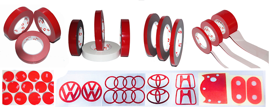 Custom printed high sticky double sided foam tape rolls for glass