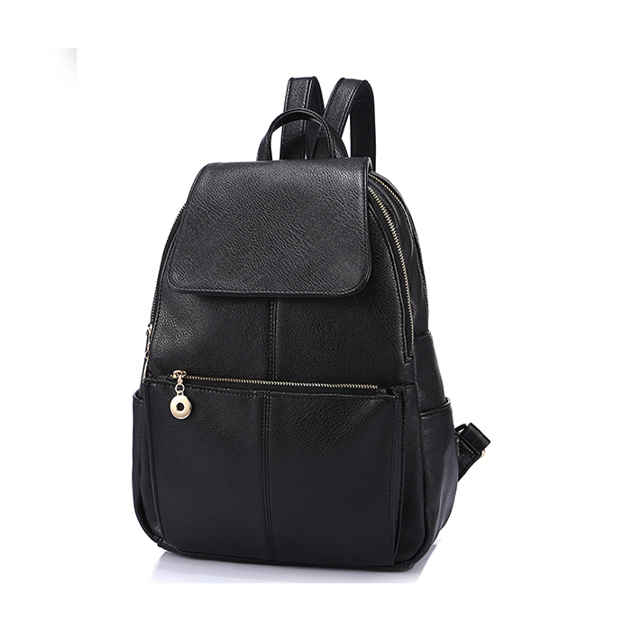 Fashion leisure women pu leather backpack, ladies fancy black backpack