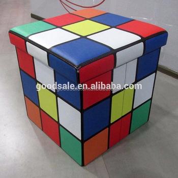 Popular Home Muebles Niños Cubo Otomana De Cuero Plegable ...