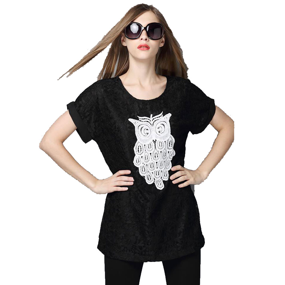 Europe and America 2015 summer new fashion thin  owl print casual blouse short sleeve Black | light Blue plus size loose tops