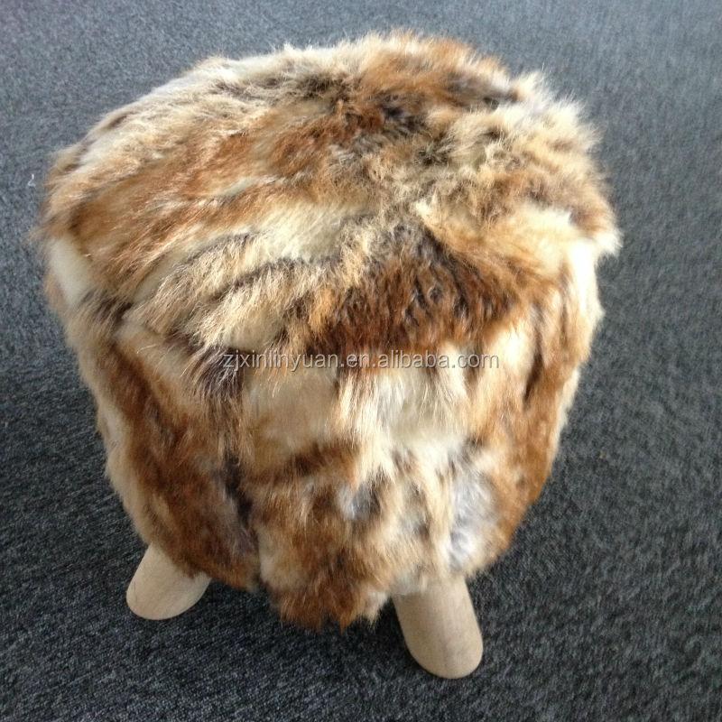 Vente chaude fausse fourrure pouf avec pieds en bois - Pouf fausse fourrure ...