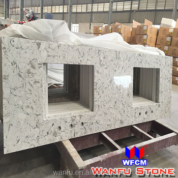 Precut White Epoxy Resin Quartz Countertops