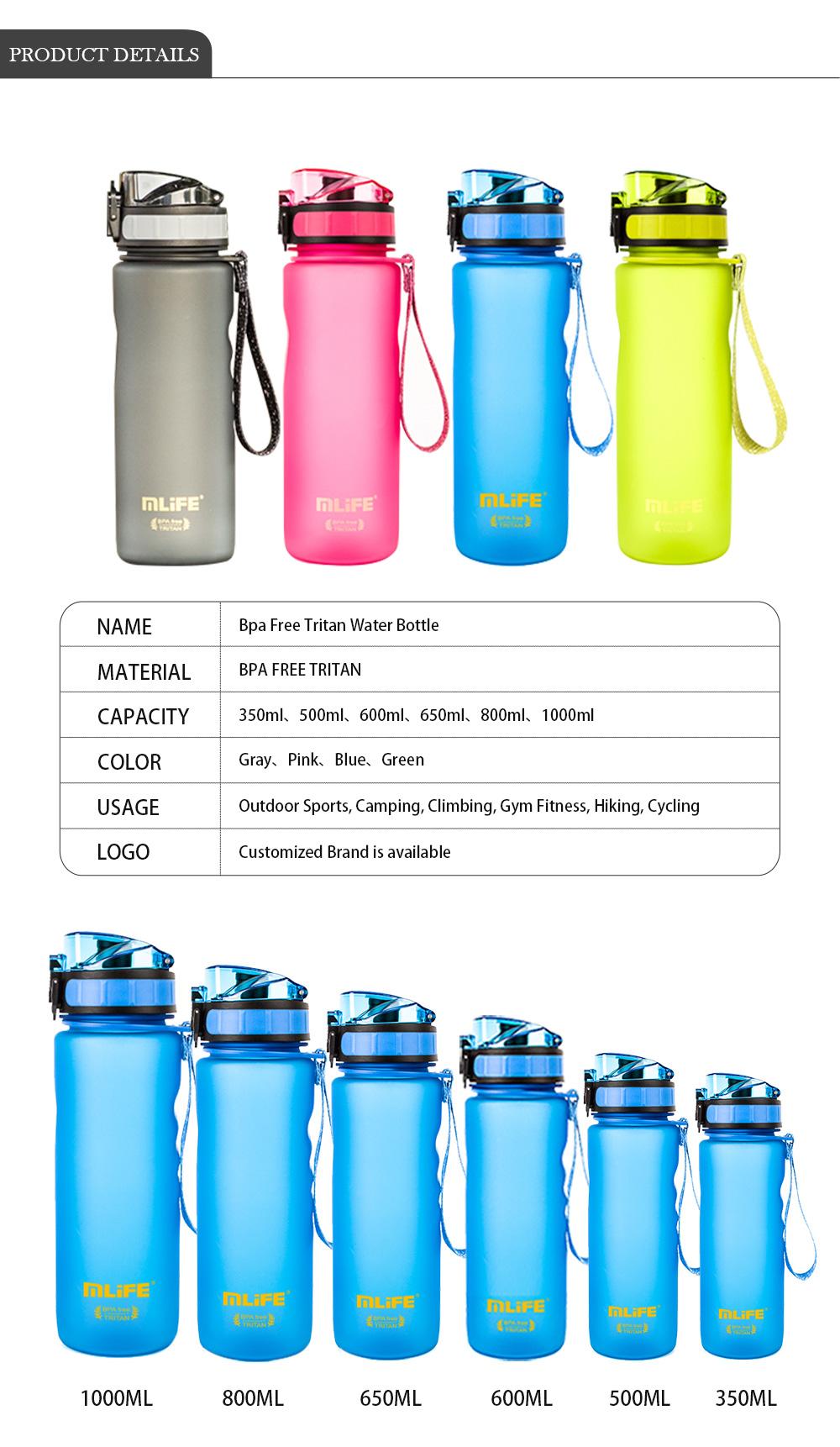 Botella de 500 ml 650 ml-BPA-libre de plástico botella de agua Water