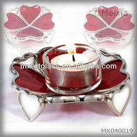 MX040019 china wholesale tiffany style stained glass candle holder for wedding decoration