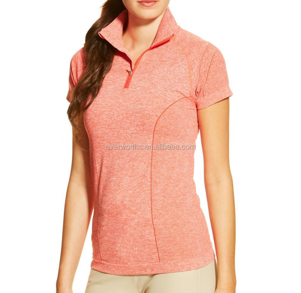 Pink marle heather women seamless active short sleeve polo t shirts