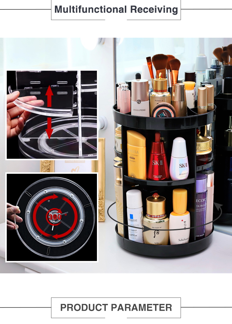 Factory 360 Rotating high-quality Round 3 tier Clear Transparent Acrylic Cosmetic Storage Box Makeup Organizer