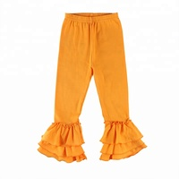Wholesale Popular Fall Boutique Icing Ruffle Pants 100% Cotton Long Pants Baby Girls Colorful Icing Leggings