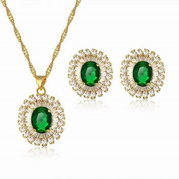 Manufacturers America Bridal Jewelry 24k Gold Necklace Earrings Sets Whole Green Aaa Cz Wedding Jewellery Designs