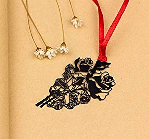 MEICHEN-Antique openwork metal beautiful creative vein bookmark vintage classical Chinese style student gift gift stationery,The rose
