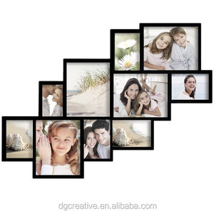 with 10 Clustered Openings Decorative Black Wood Wall Hanging Collage Photo Frame