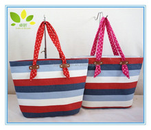 fashion women handbags color stripes shoulder beach bag big tote bags