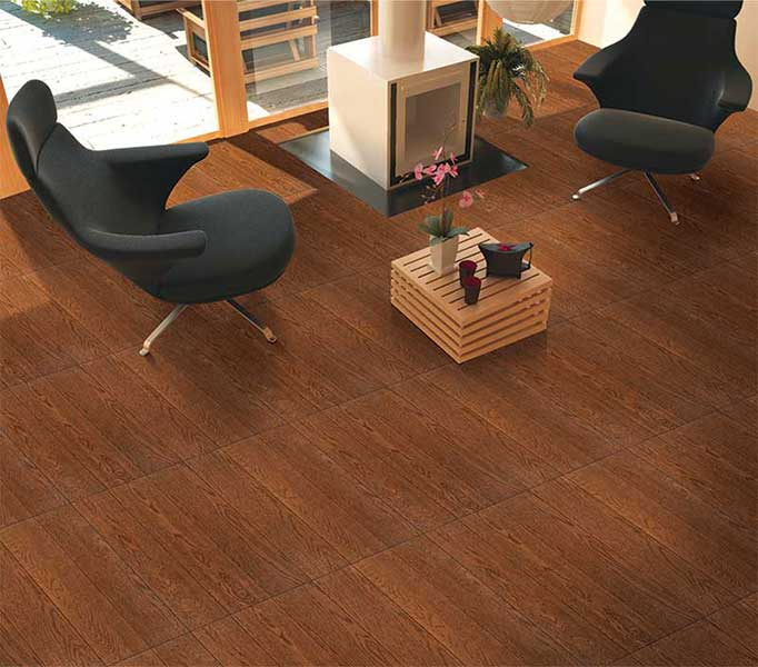 chinese Smooth textured black walnut glazed porcelain tile wooden texture rustic porcelain ceramic floor tile