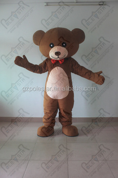 Red Bow Tie Bear mascot costume brown gentlema teddy costume