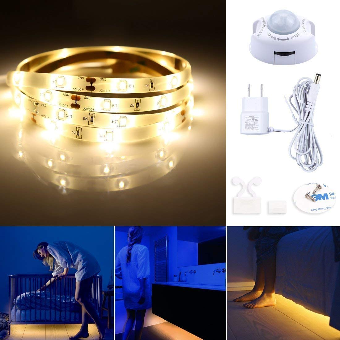 Motion Activated Under Bed Light,LED Motion Sensor Bedside Light Strip 1.2M,Warm White 3000K,Waterproof LED Bed Light For Under Cabinet, Under Bed, Hallway, Dark Corner Accent Lighting(1 Pack)