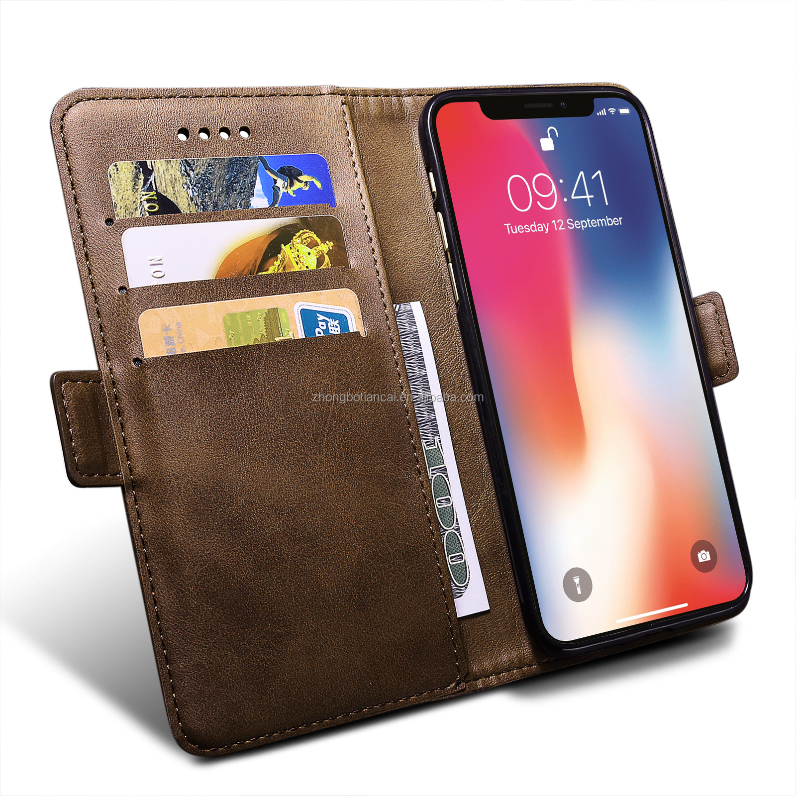 2019 New Retro PU Leather Strong Magnet Book Case RFID Blocking Material For OPPO A3S
