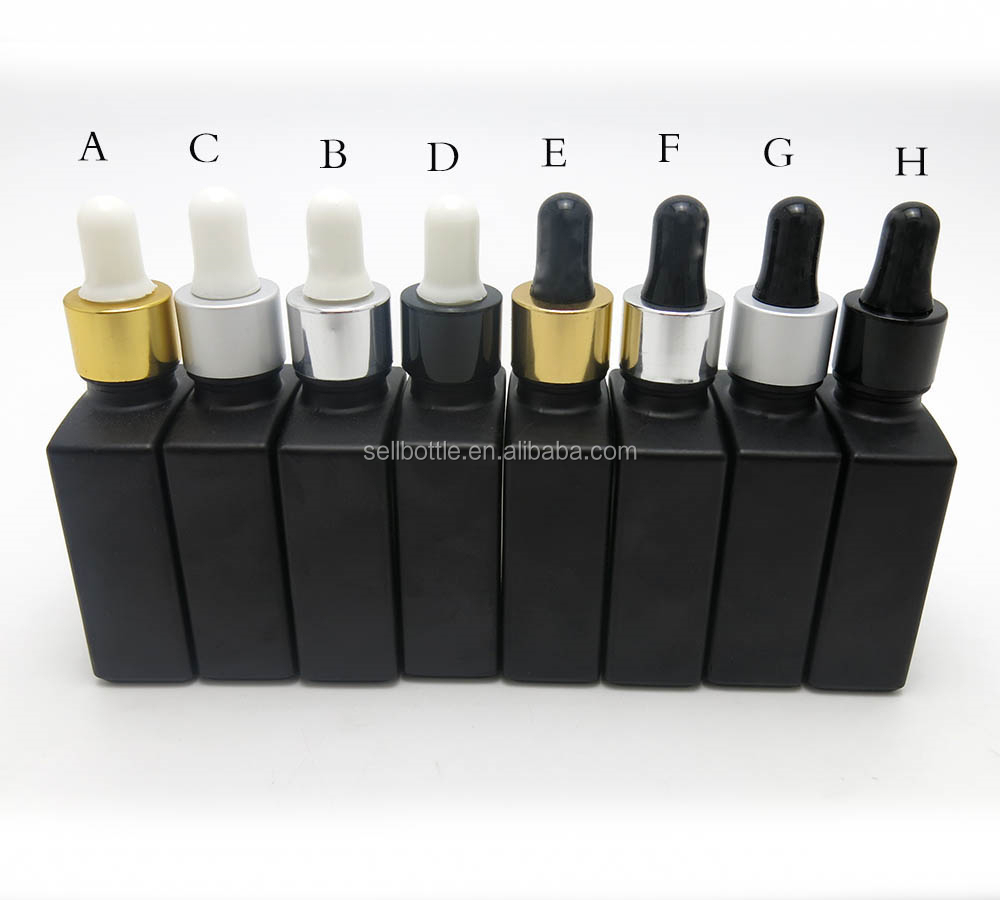Factory 1 oz frosted black glass e lqiuid bottles with eye dropper for essential oil medical