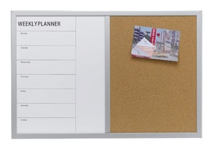Weekly Planner Combo Magnetic Board Cork Board with Pine Wood Frame
